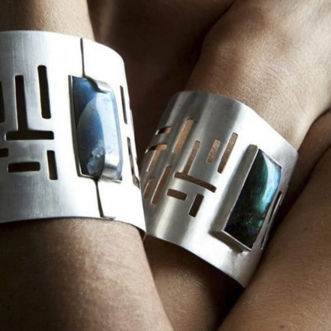 Bracciale in argento con malachiti
